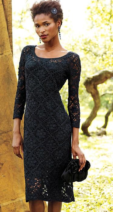 черное платье крючком из мотивов схема